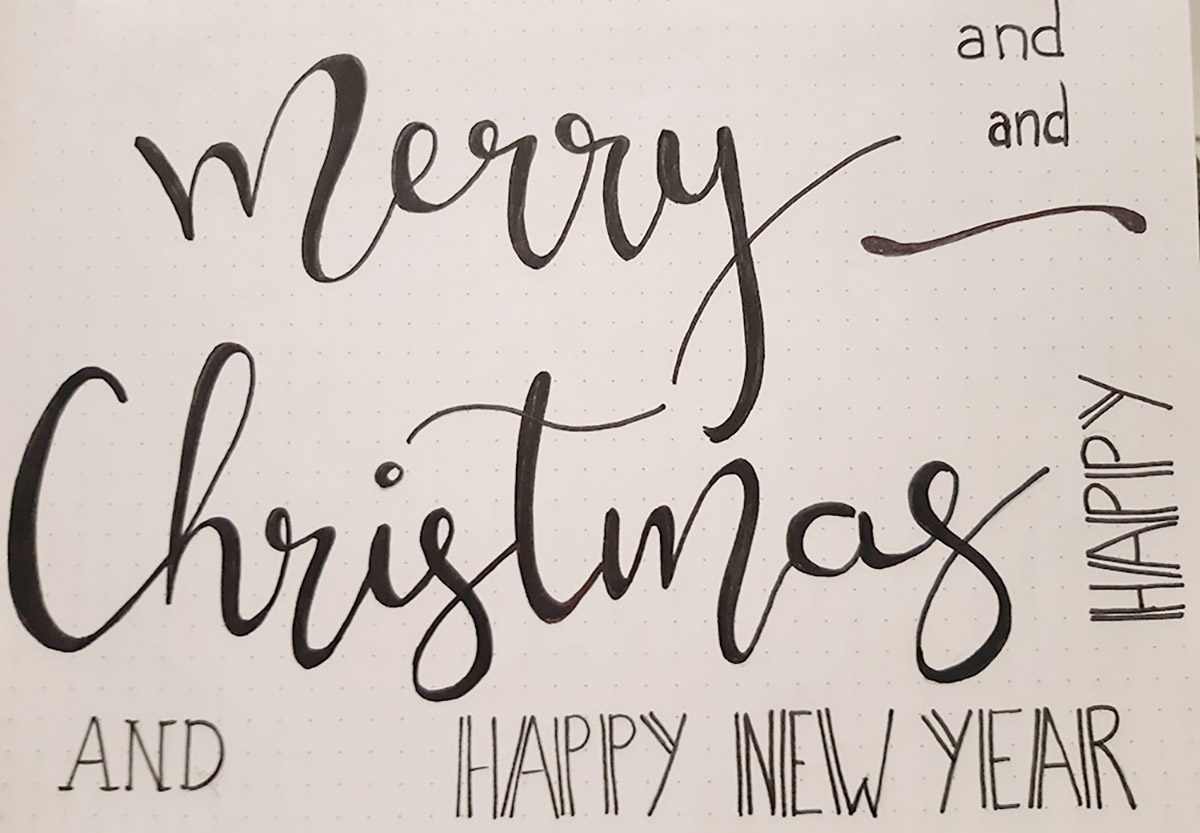 Boceto lettering Merry Christmas and Happy New Year